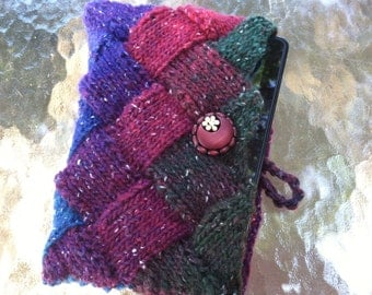 Shades of Blue, Purple, Maroon, Red, and Forest Green Knitted Entrelac Kindle Nook or Tablet Cover with Antique Wooden Button