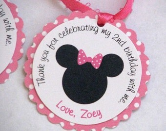 Minnie Mouse Favor Tags -12 tags included- Pink Polka Dots