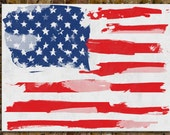 American flag - 36x48 Canvas Print / Watercolor paint