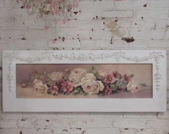 Painted Cottage Chic Shabby Romantic Rose Christy Repasy Canvas Print HD59