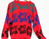 Light up the night acrylic 80s sweater .Multicolored verging on neon oversized floral pattern pullover in medium