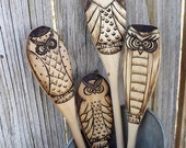Owl wood spoons, wood burned (Set of 4)