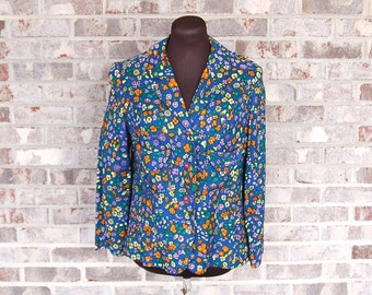 Vintage flowered blazer, 1970s Young Edwardian, linen blazer, blue flowered jacket, blue yellow orange green, Size M