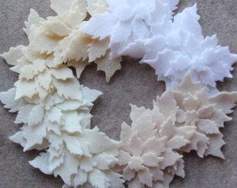 Antique Lace - Tattered Poinsettias- 36 Die Cut Felt Flowers