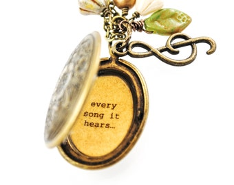 The Sound of Music - Broadway Jewelry - Quote Locket - Womens Locket - My heart wants to sing every song it hears