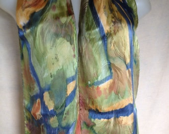 Green Gold gleam scarf hand painted silk jacquard ooak