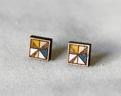 reserved for helena CLOSING DOWN SALE Square Stud Earrings in Yellow and Blue