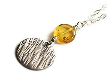 SALE Lemon Amber Coin and Textured Silver Disc Necklace