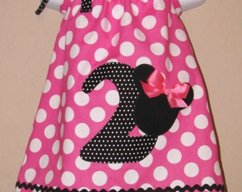 CUSTOM Disney Minnie Mouse Inspired Baby Toddler Dress - A-line Pillowcase Dress- Pink White Dots - Great for Disney Trips and Birthdays