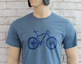 Men's Mountain Bike T Shirt In Stormy Blue, Cotton Crewneck Tshirt, Graphic Tee