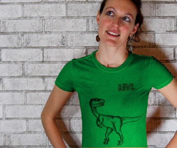 Ladies Dinosaur RAWR Tshirt, velociraptor, Kelly Green Cotton Crewneck, Women T shirt