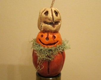 Wicked Carved Stacking Pumpkins  Wine Stopper