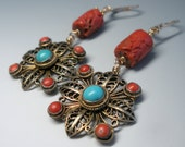 Antique Coral Turquoise Filigree Earrings Chinese