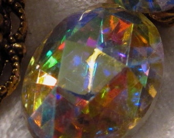 CZECH GLASS - 18x13mm - Crystal AB -  Faceted Cabochon - 1 pc : sku 06.06.13.5 - S5