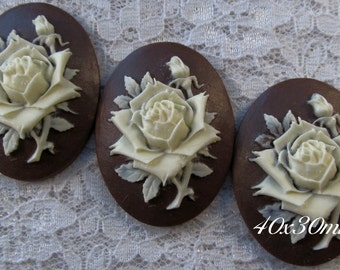 """40x30mm Cameo - Ivory/Brown - """"Rose Solitaire"""" - 3 pcs : sku 02.01.14.9 - K7"""