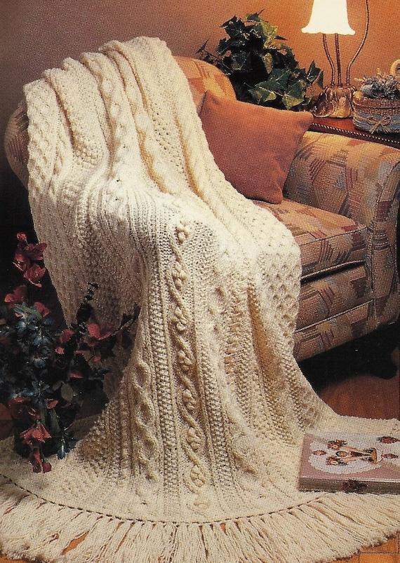 Aran Afghan Knitting Patterns : Aran Fisherman Afghan Pattern Knit Vintage Pattern