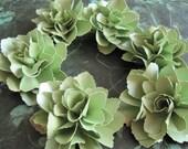 Lime Green Shimmer Paper Flowers  - Set of 6