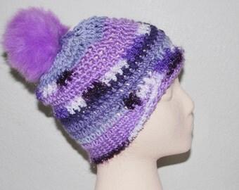 Purple Pom Pom Ski Hat
