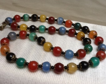 GEMSTONE RAINBOW Scottish agate beaded necklace - striking, single strand of semi precious multi coloured agate beads