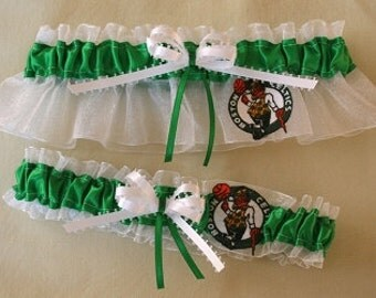 Boston Celtics Handcrafted Basketball Wedding Garter Set, Can Be Personalized