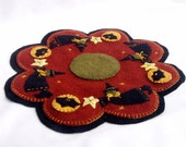 Penny Rug Halloween Witch Bat Moon Wool Table Runner or Candle Mat Primitive