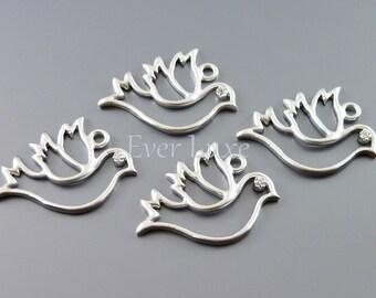 2 delicate silver dove charm / flying bird pendant / wedding dove jewelry 1946-MR