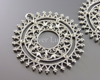 2 Large unique round spiky filigree pendants, jewelry pendants, matte silver brass, jewelry making supplies 1219-MR (matte silver, 2 pieces)
