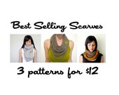 Best Selling Scarves CROCHET Pattern package INSTANT DOWNLOAD chain warmer circle scarf pocket scarf for her