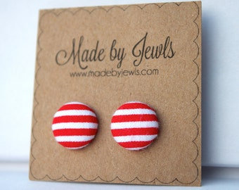 Fabric Button Earrings - Miss Pinup - Buy 3, get 1 FREE