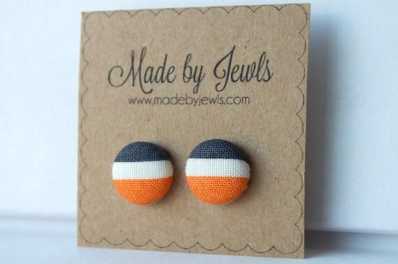 Fabric Button Earrings - Fall Stripe - Buy 3, get 1 FREE
