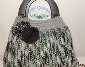 Crochet Tote Bag - gray, green, black, purse, handbag, chunky, Fall, Winter, tote, tote bag, bag