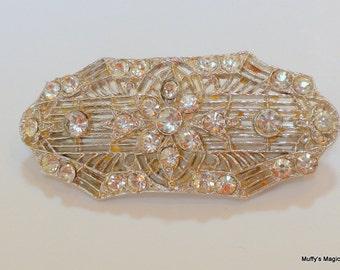 Vintage Art Deco Rhodium Plated Filigree Brooch Rhinestones