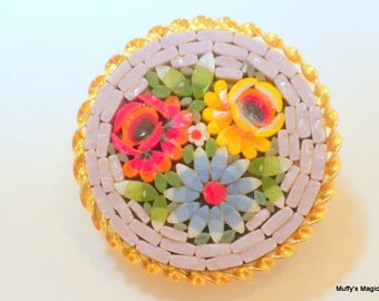 Vintage Floral Mosaic Tile Brooch Yellow, Red and Blue Flowers
