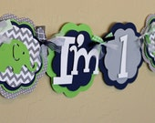 """Elephant Lime Green Navy Blue Gray Chevron Stripe Polka Dot """"I'm 1"""" High Chair Age Banner Highchair Boy Baby Shower Party Decorations First"""