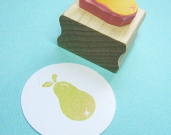 Small Pear Hand Carved Rubber Stamp - Fruit Stamper - Baking Supplies - Gift for Baker - Present for Crafter - Gift for Foodie - Food
