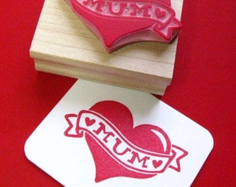 Mum Stamp - tattoo Mum Heart Hand carved Rubber Stamp Mothers Day Gift Mothering Sunday Gift Gift for Mother Gift for Mum