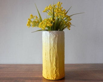 Pick your color / Yellow ombre Vase / lemon Yellow home decor / handcrafted vase / yellow flower vase / cylinder vase / Kristin Malaer