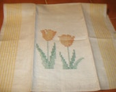 Linen and Cotton Tea Towel - hand embroidered, spring kitchen, mothers day