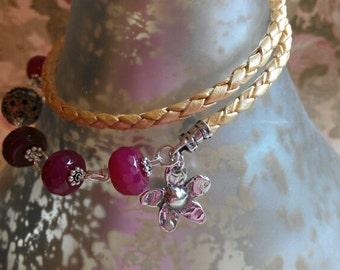 STERLING Bracelet FloWer NEcklace, FlowEr BraCelEt,  LeaThEr Necklace, LeaTHer Bracelet,  PiNK NecKlAce, WrAp BraCeLet MNB00