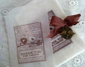 Stamped glassine lovebird thank you gift treat bags