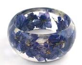 Size Large Purple Botanical Resin Bangle. Bangle Bracelet.  Pressed Flower Resin Cuff.  Real Flowers - Purple Larkspur.  Engraved
