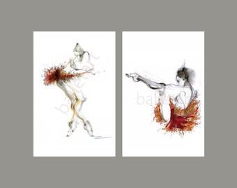 Ballet Art, valentine gifts, set of 2, wall art, art print, figure drawing, sketch, Wedding Variation, artwork print, valentines day decor