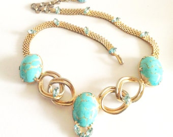 Beautiful Circa 1950s Turquoise Blue Art Glass Gold Designer Vintage Necklace Singed Denbe