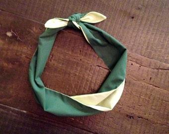 Green tone retro heaband wrap