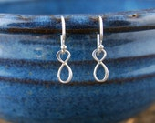 Tiny sterling silver infinity earrings, infinity symbol, hammered earrings, silver infinity, eternity earrings, tiny silver earrings