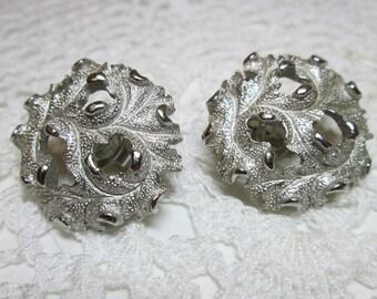 Vintage Crown Trifari Leaf Clip Earrings