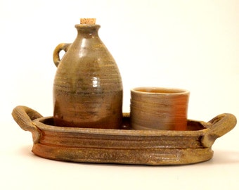 liquor set / woodfired jug, serving tray & matching cup N20