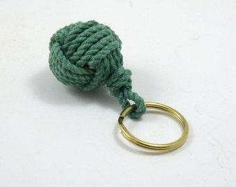Nautical Key Ring Green Monkey's Fist Keychain