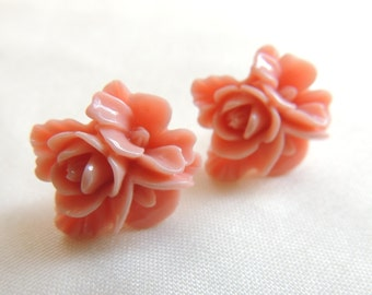 Coral Pink Flower Stud Earrings, Flower Earrings, Bridesmaids Earrings, Breast Cancer Awareness, Thank you gift, Ramadan Eid gift present
