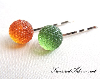 Pave Style Acrylic Rhinestone Ball Bobby Pins, Orange, Light Green, set of 2, Children Hair Accessory, St. Patrick's day, Kiss me I'm Irish